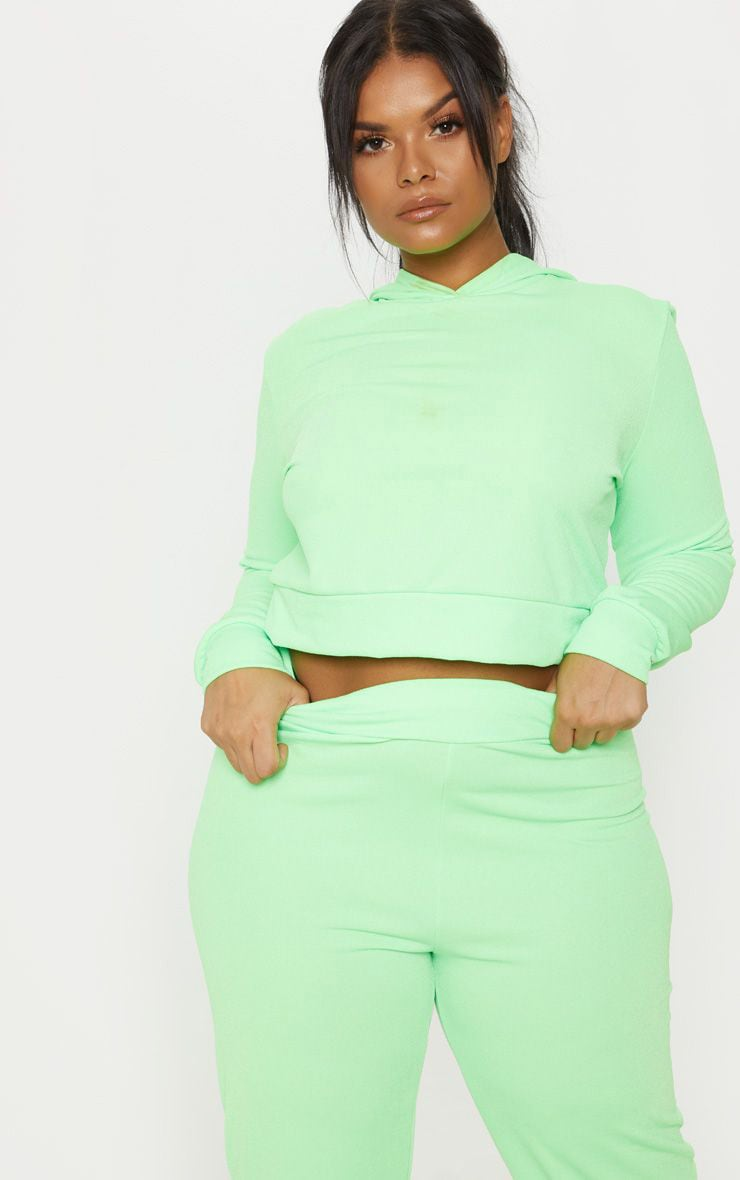 Plus Neon Green Cropped Hoodie Top 1