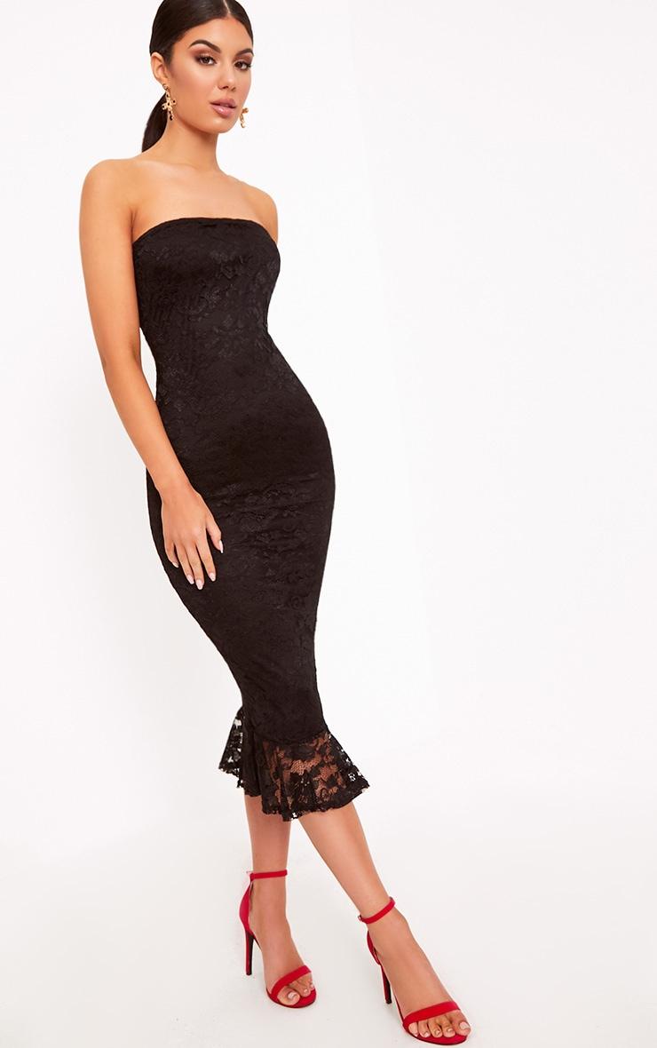 dfa3aeffb85 Ellen Black Lace Bandeau Frill Hem Midi Dress image 1