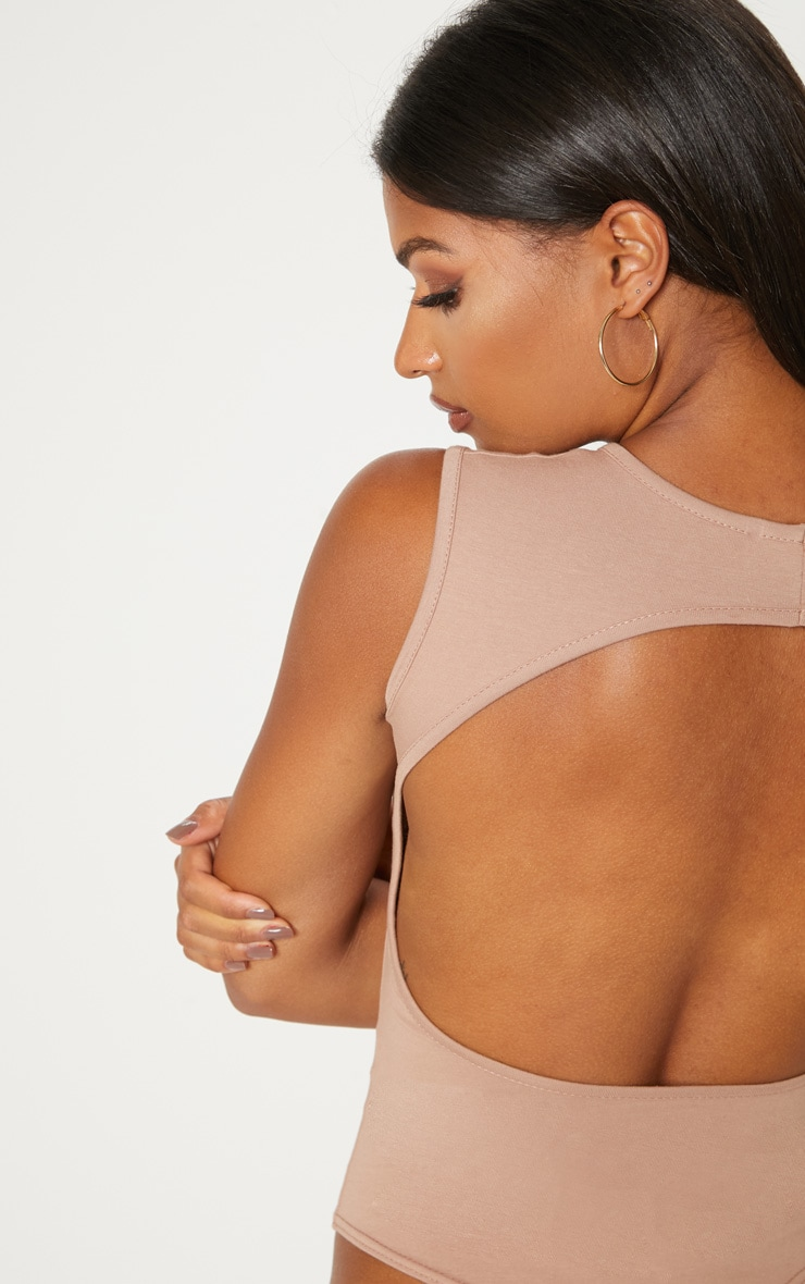 Taupe Cut Out Back Sleeveless Bodysuit 7