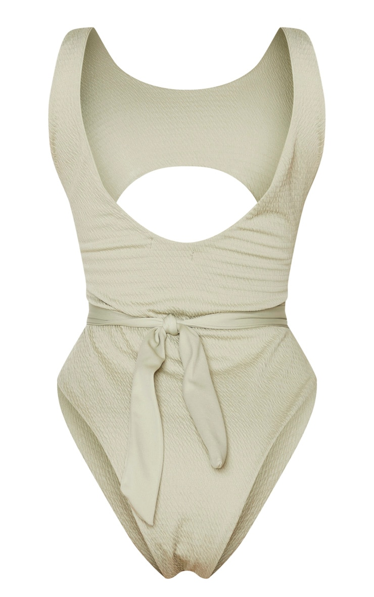 Soft Olive Crinkle Cut Out Belted Swimsuit 6