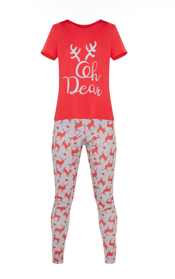 Oh Deer Legging Grey Pyjama Set  3