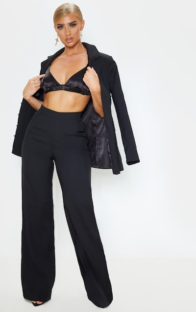 Black High Waisted Wide Leg Suit Trouser