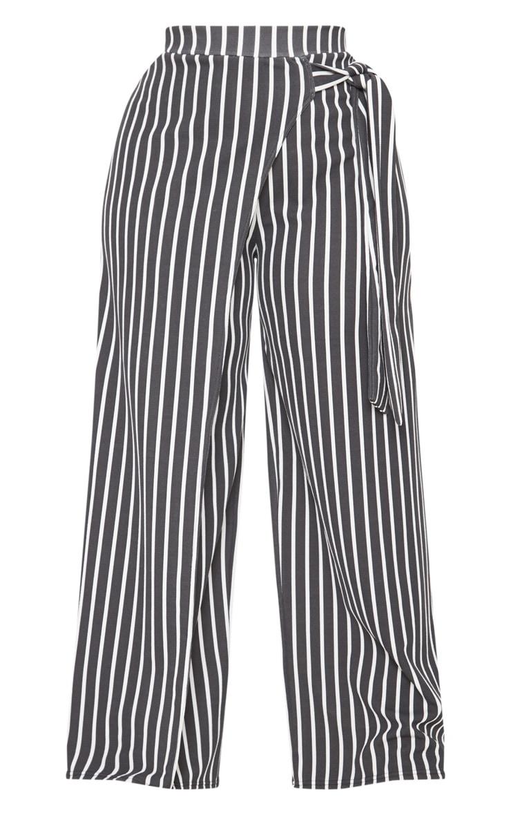 Plus Black Striped Wrap Detail Extreme Wide Leg Pants 3