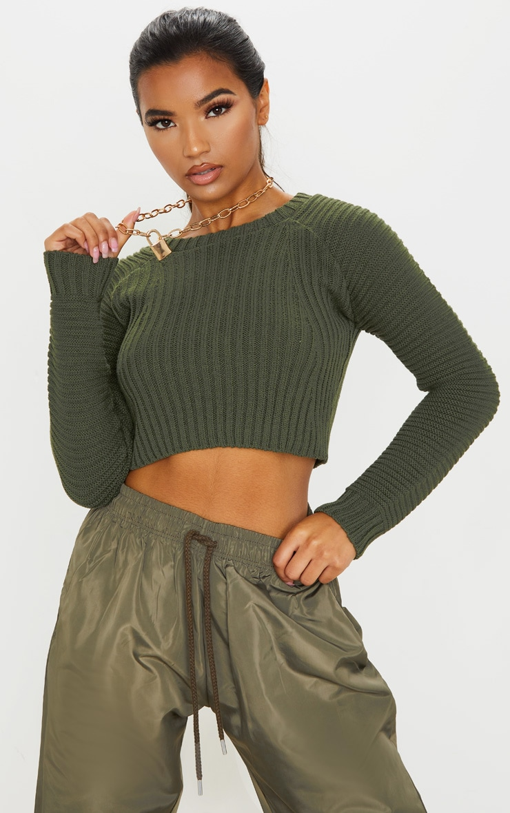 Khaki Cropped Rib Knit Jumper 1