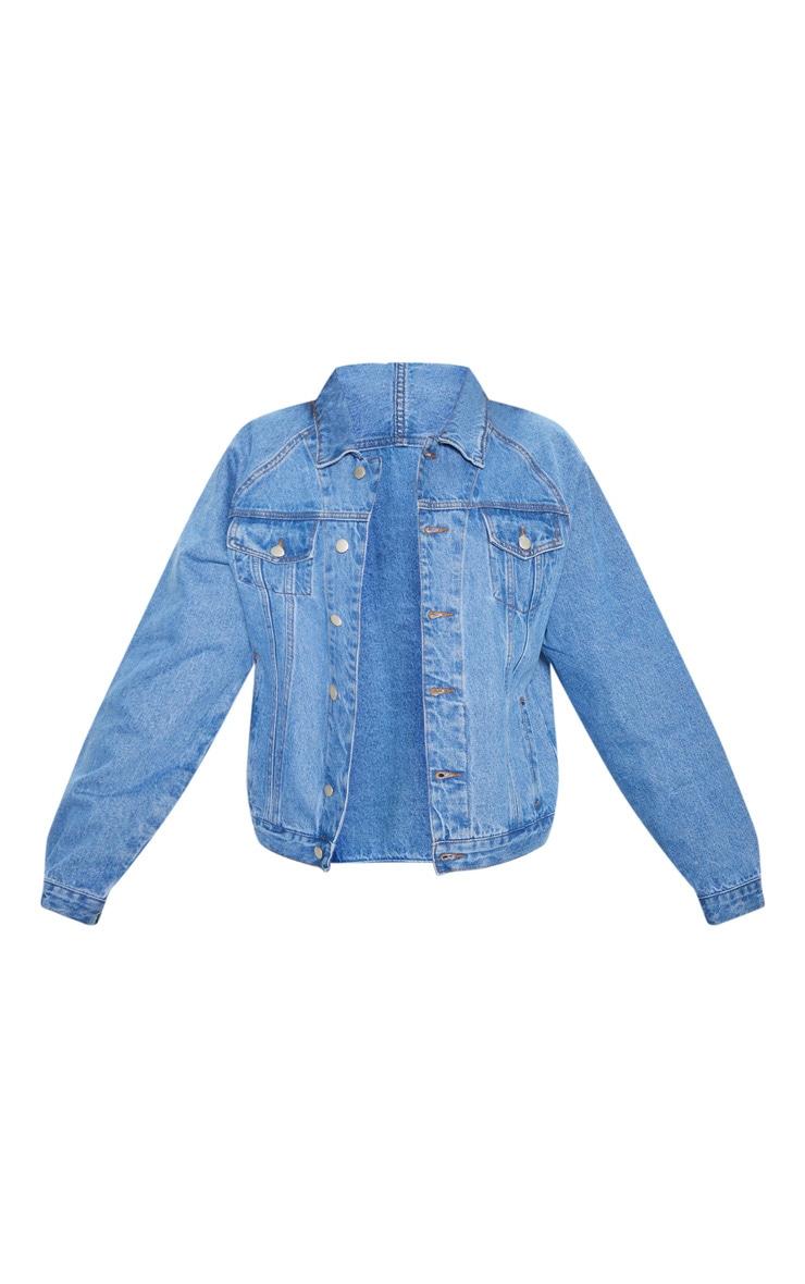 Mid Wash Drop Shoulder Oversized Denim Jacket 3