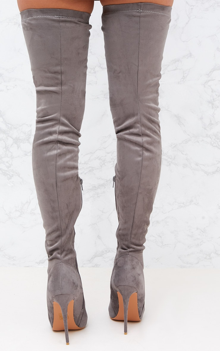 Grey Faux Suede Thigh High Heeled Boots 4