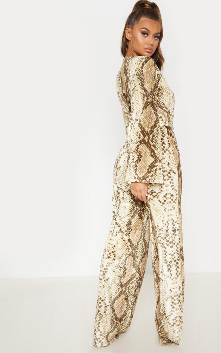 Beige Snake Print Velvet Tie Waist Jumpsuit 3