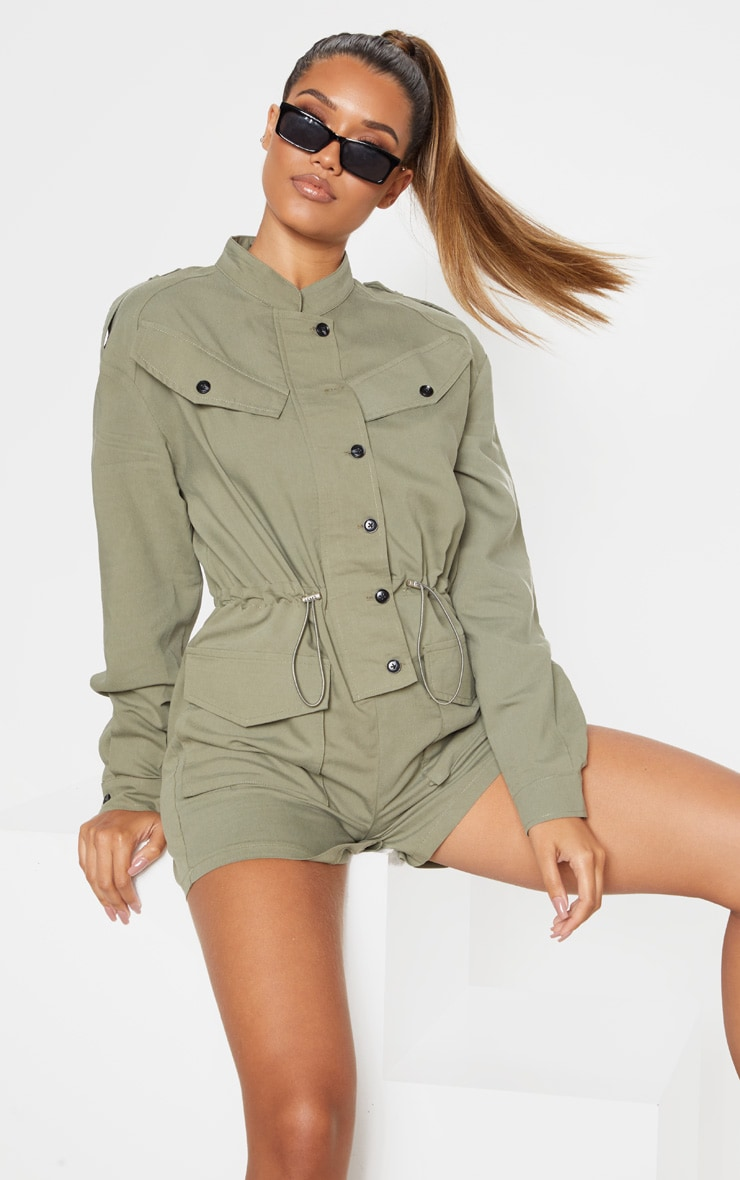 Khaki Pocket Detail Utility Style Playsuit 5
