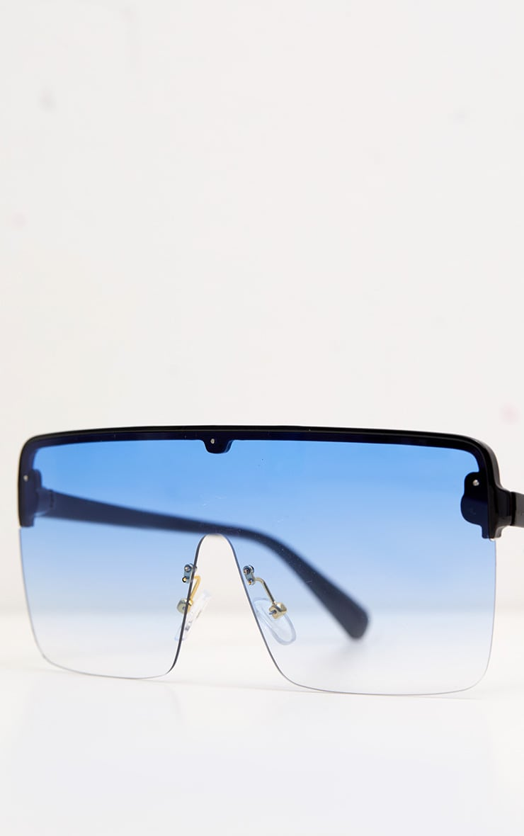 Blue Single Lens Frameless Block Sunglasses 4