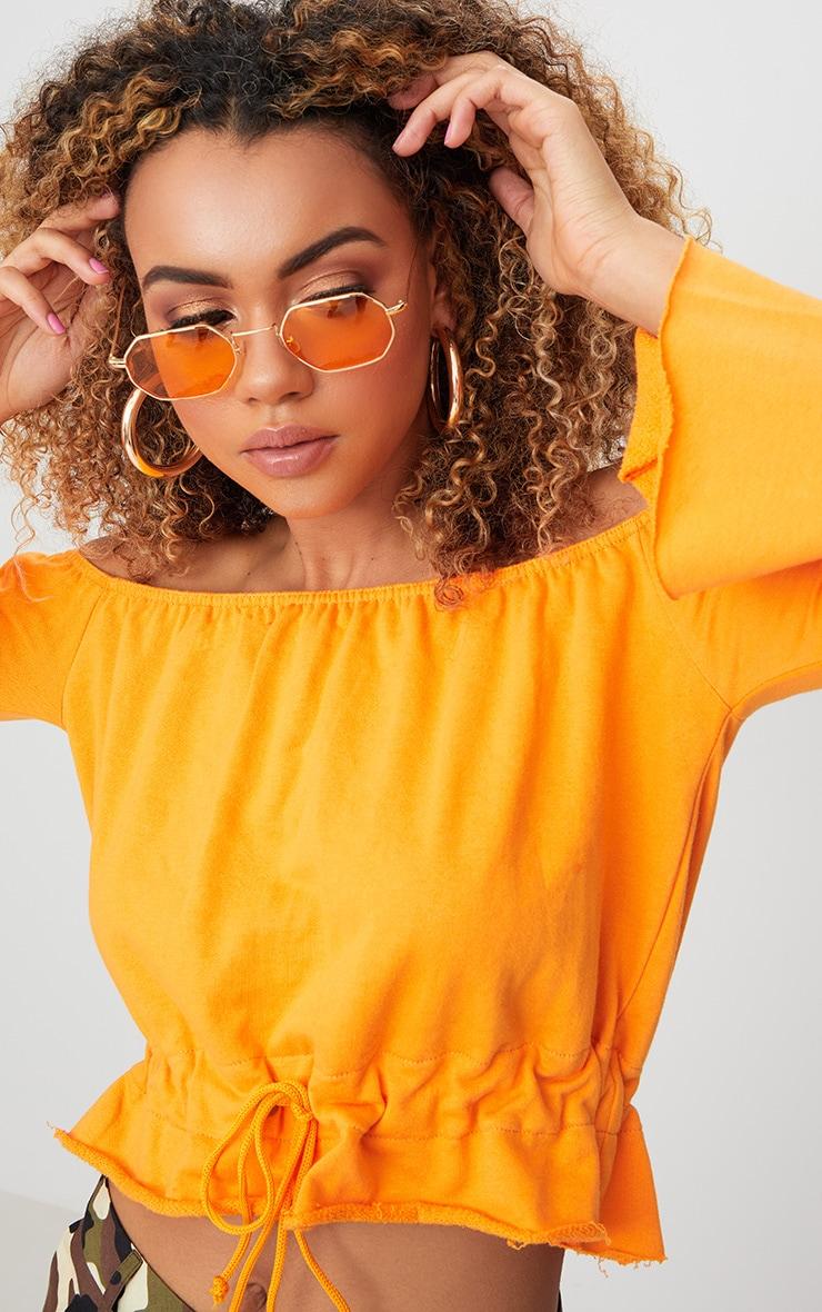 Orange Bardot Tie Waist Sweater  5