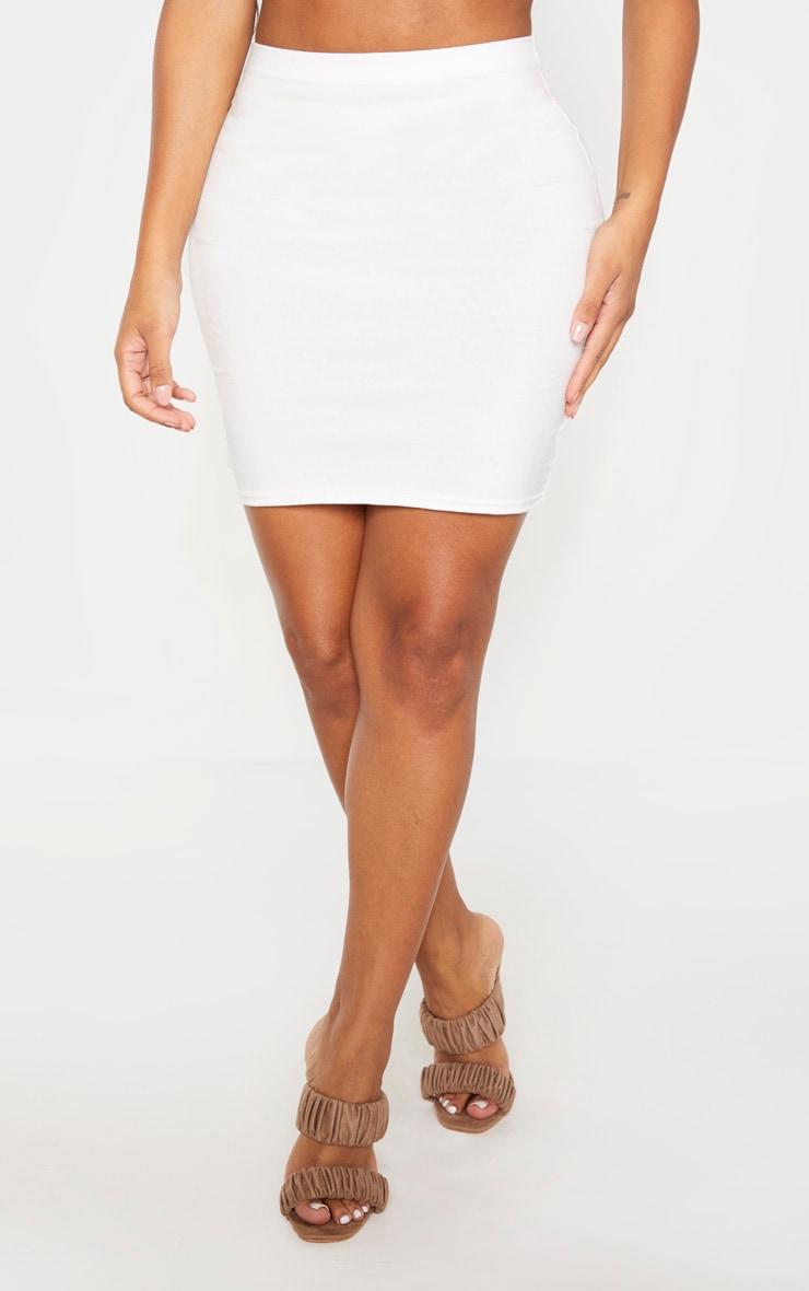 Shape - Jupe moulante taille haute en coton crème 2