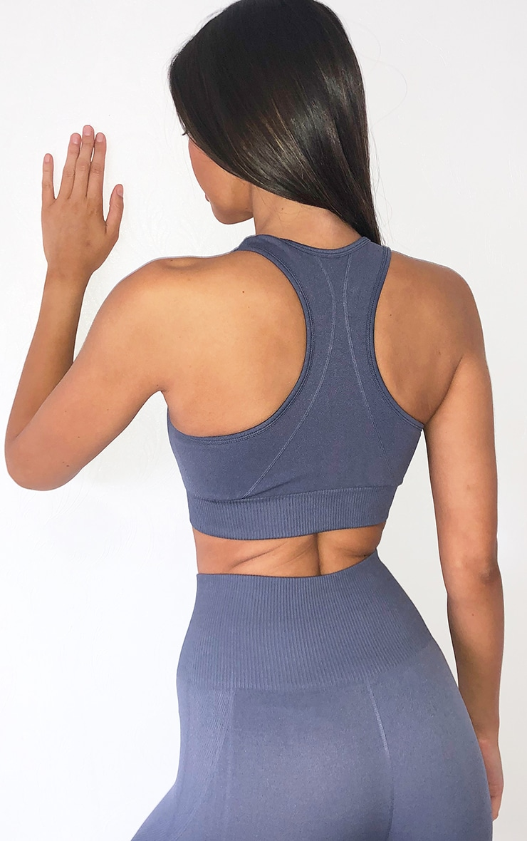 Grey Seamless Scoop Neck Sports Bra 2