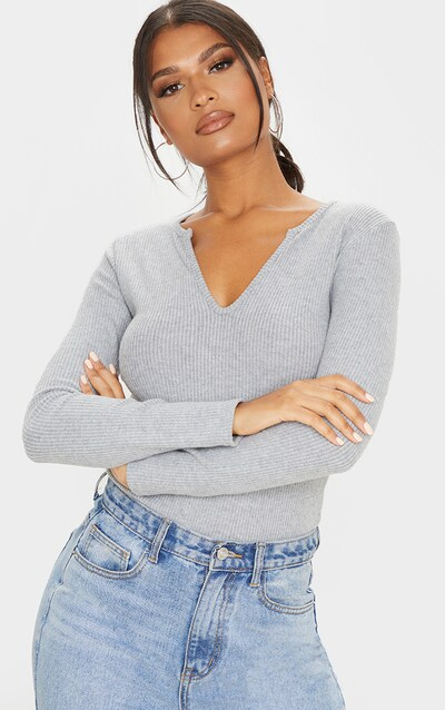 Grey Brushed Rib Plunge Long Sleeve Top