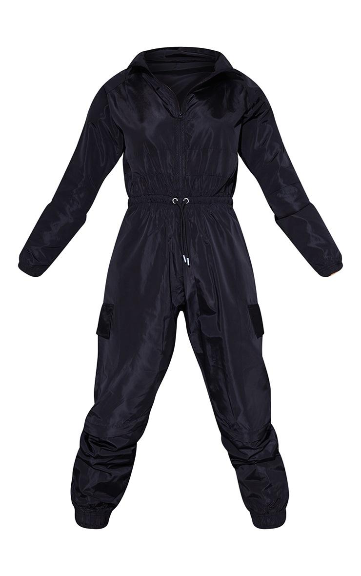 PRETTYLITTLETHING Black Shell Boiler Jumpsuit 5