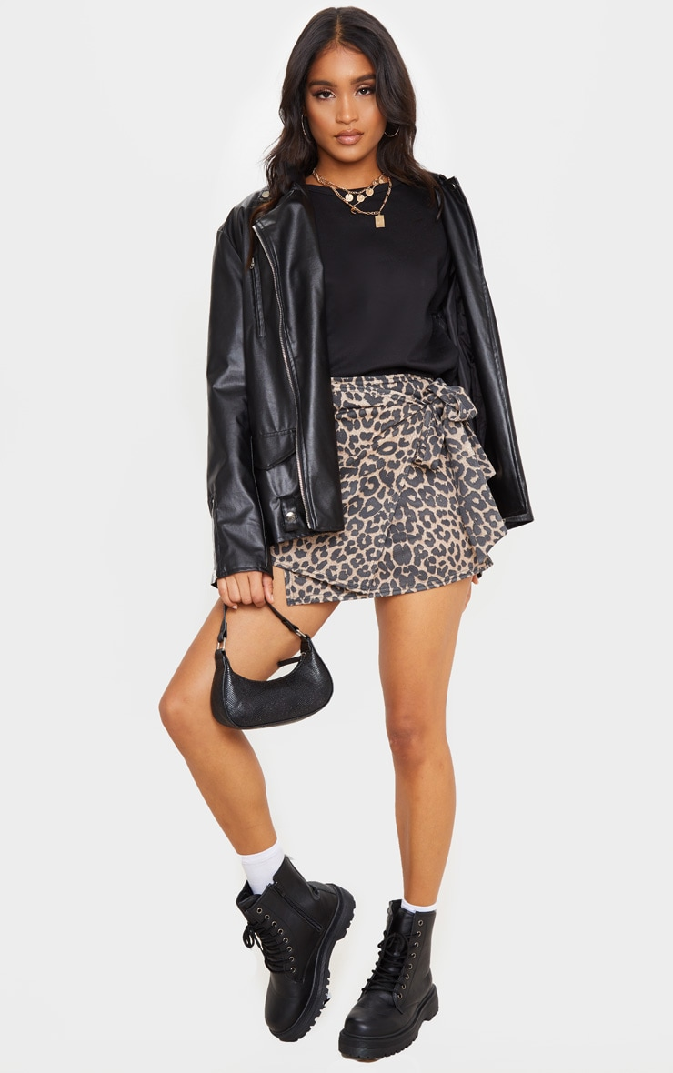 Tan Leopard Print Crepe Wrap Mini Skirt 1