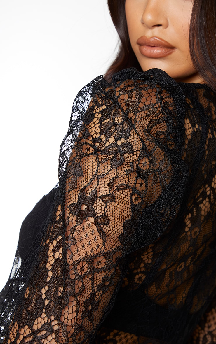 Black Sheer Lace Puff Sleeve Blouse 4