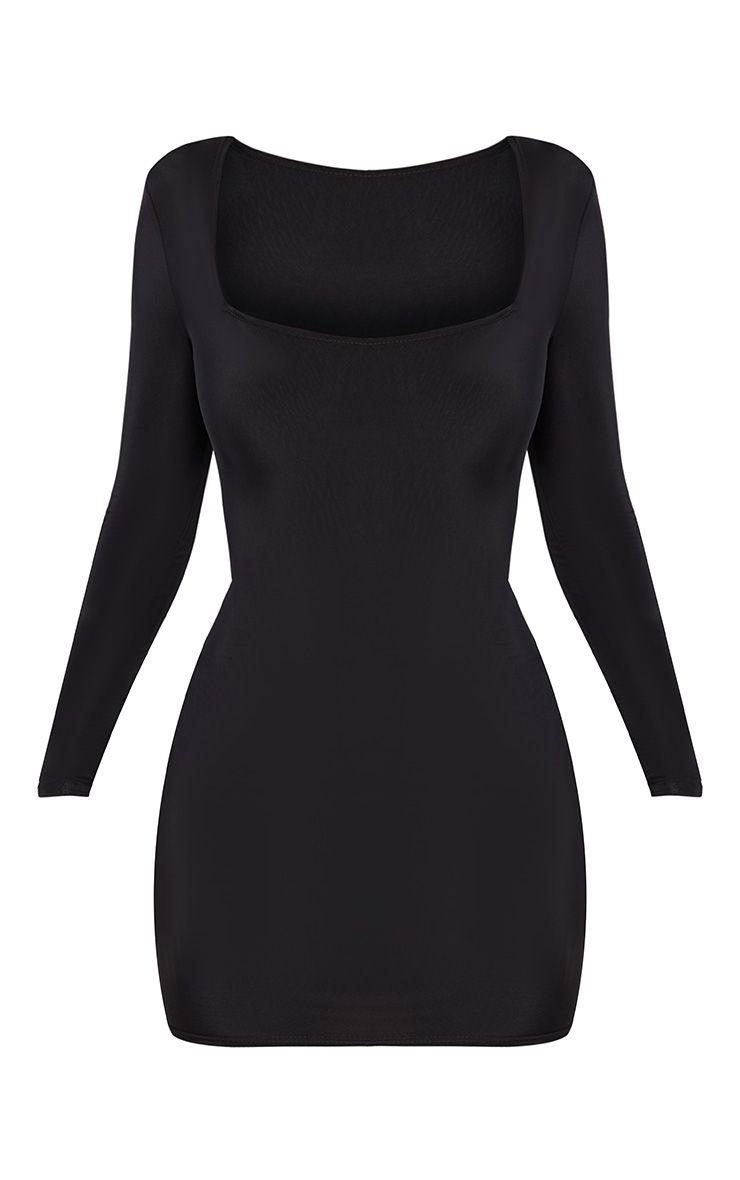 Black Second Skin Slinky Square Neck Bodycon Dress 3