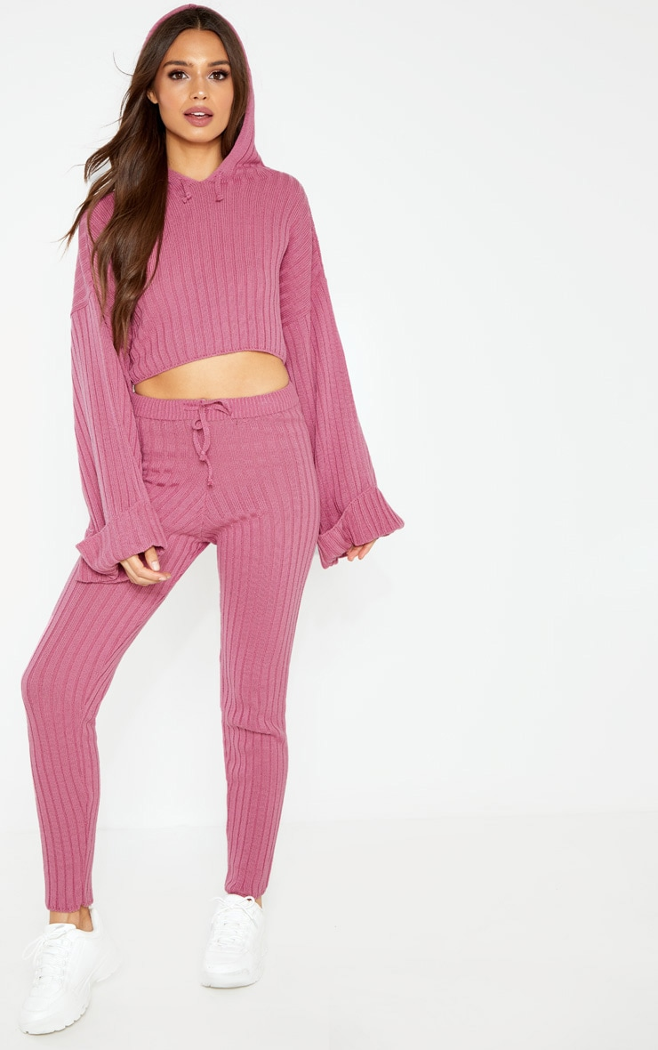 Pink Knitted Ribbed Trouser 1