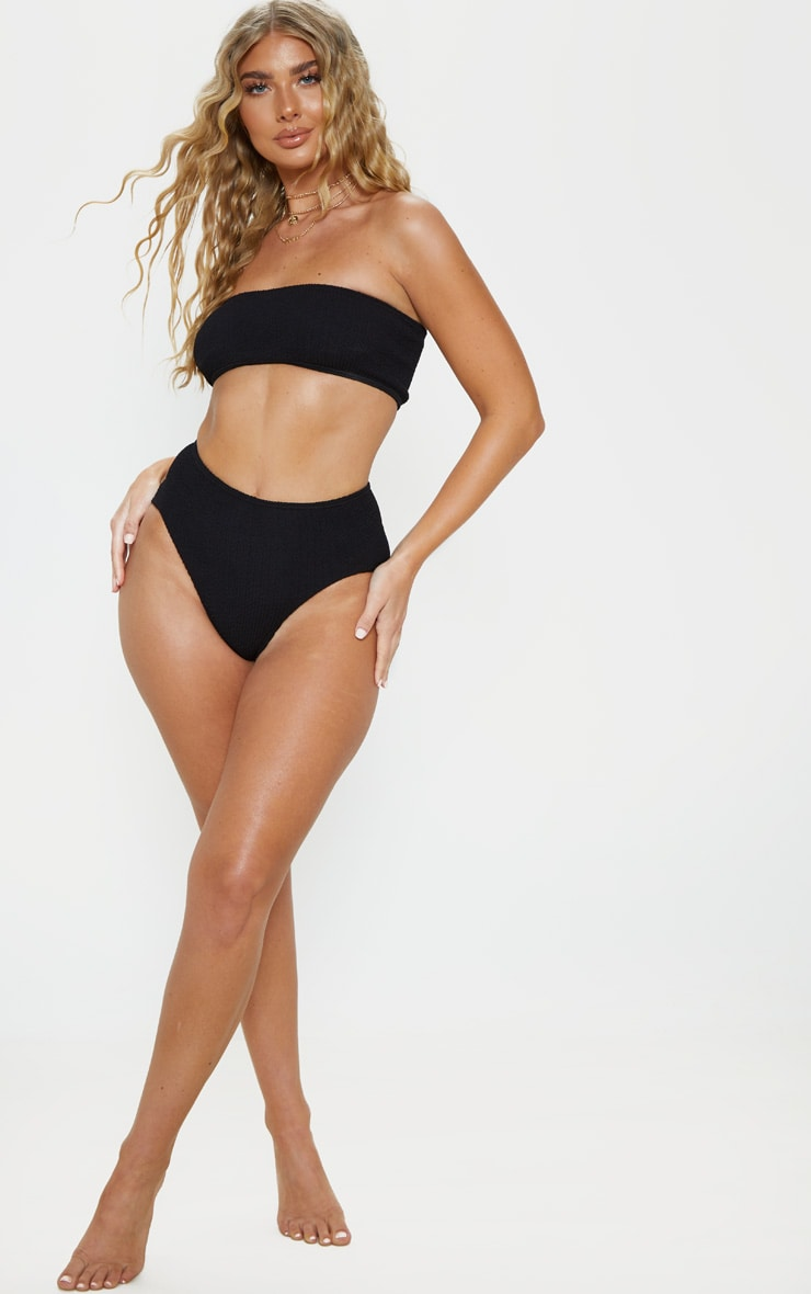Black Crinkle High Waist Bikini Bottom 6
