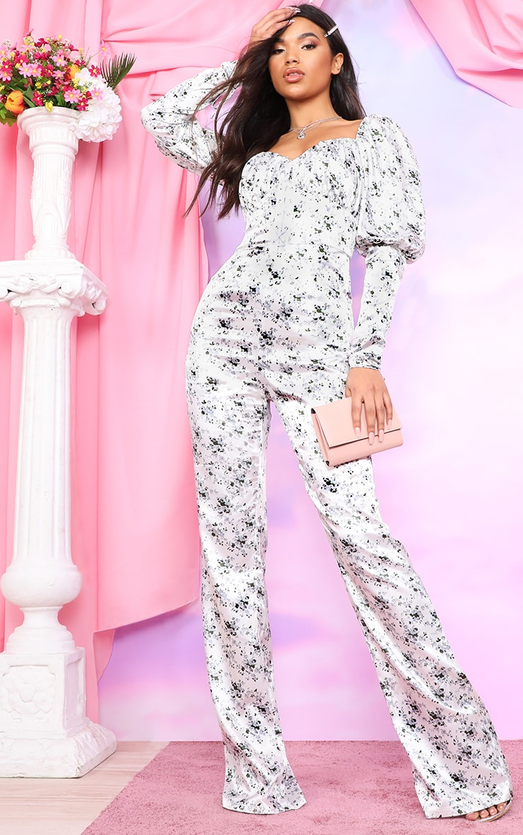 White Ditsy Floral Puff Sleeve Lace Up Waist Jumpsuit 1