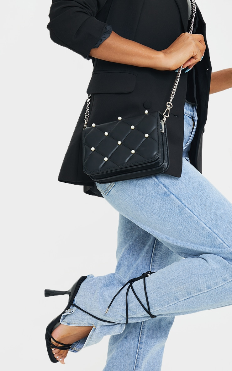 Black Quilted White Pearl Cross Body Bag 2