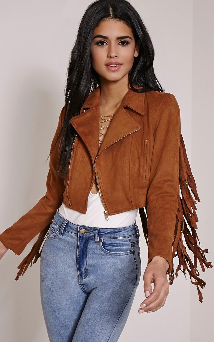 Harriet Tan Faux Suede Biker Jacket 1