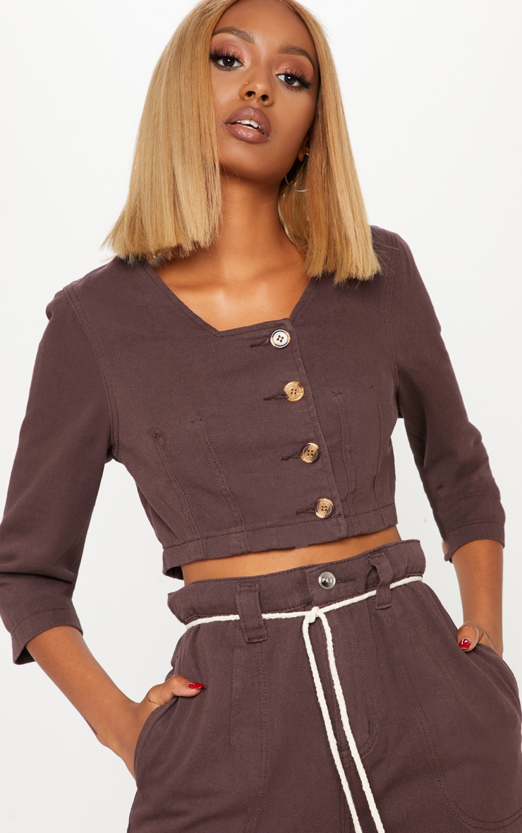 Chocolate Contrast Button Denim Crop Top  1