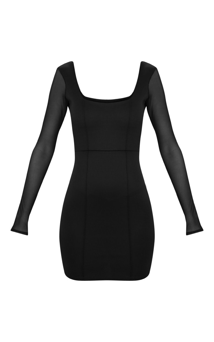 Black Square Neck Mesh Sleeve Panelled Bodycon Dress 3