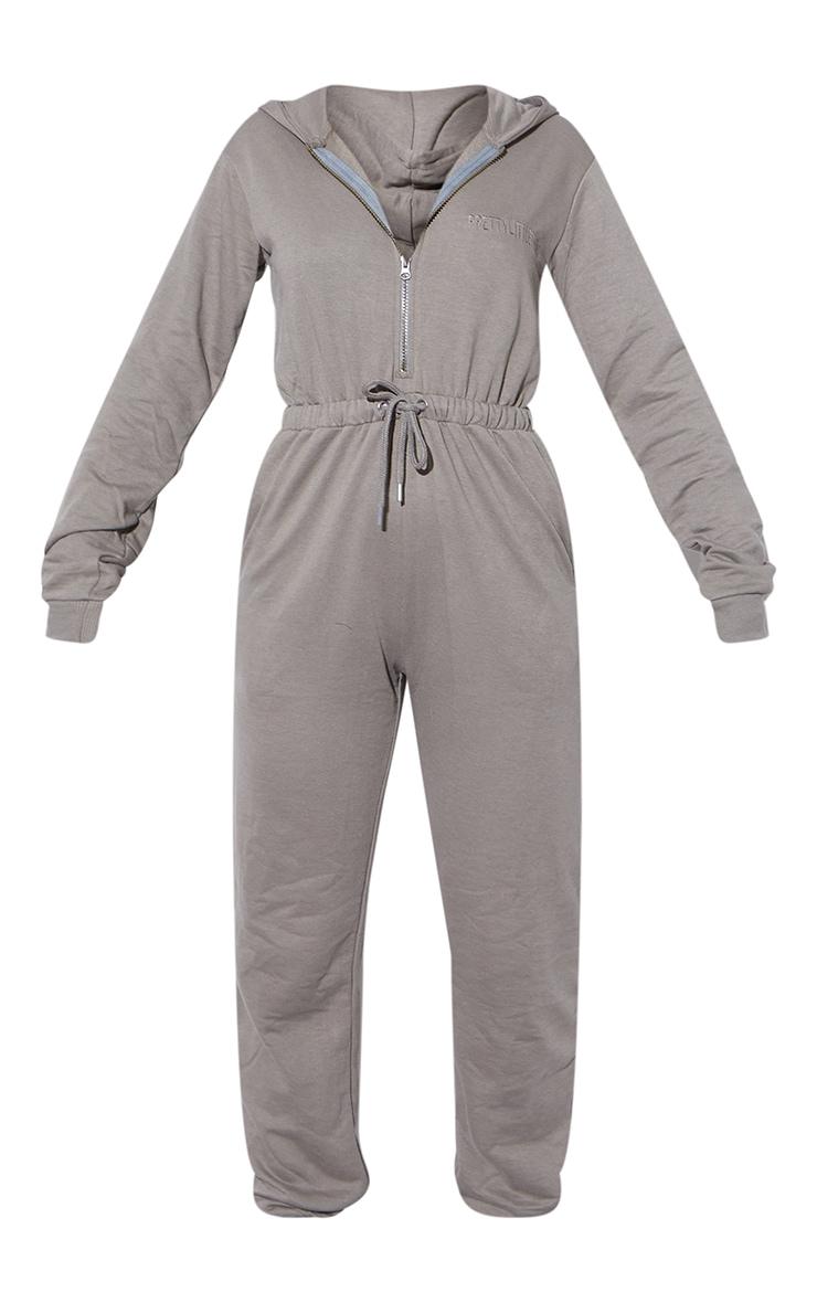RENEW PRETTYLITTLETHING Light Khaki Hooded Sweat Jumpsuit 5