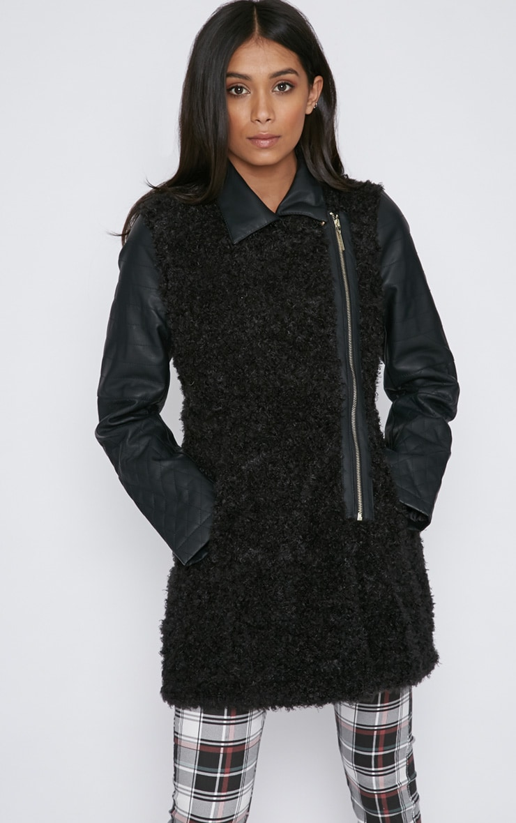 Fawn Black Curly Fur Coat with Leather Sleeves-XS 4