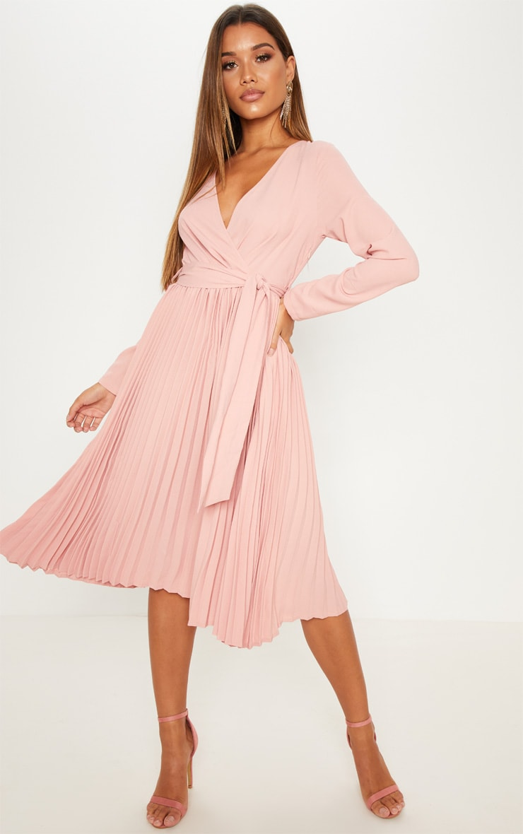 Rose Long Sleeve Pleated Midi Dress 4