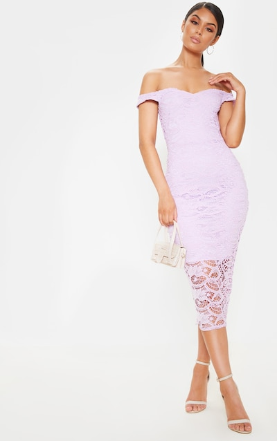 3fcc48f51a0f5 Lilac Bardot Lace Midi Dress