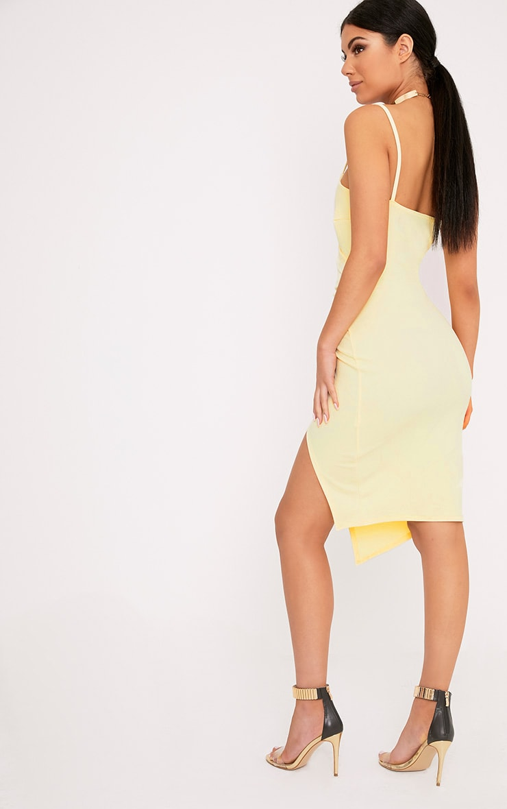 Lauriell Lemon Wrap Front Crepe Midi Dress 2