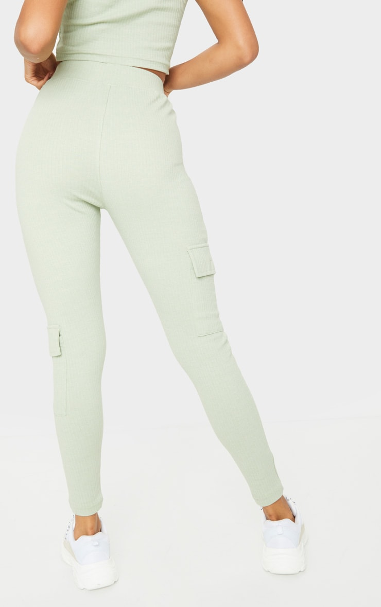 Sage Green Ribbed High Waist Pocket Detail Leggings 3