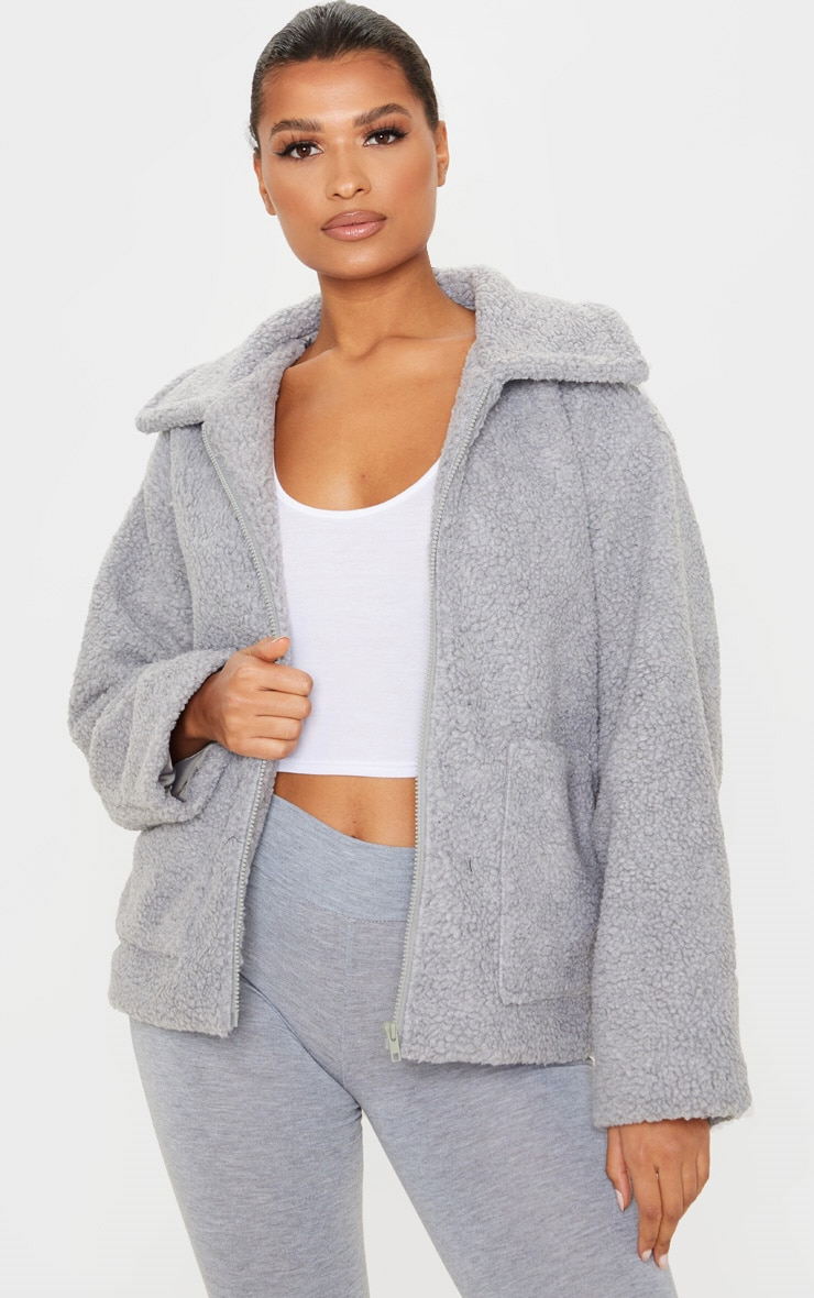 Grey Borg Zip Up Oversized Jacket 1