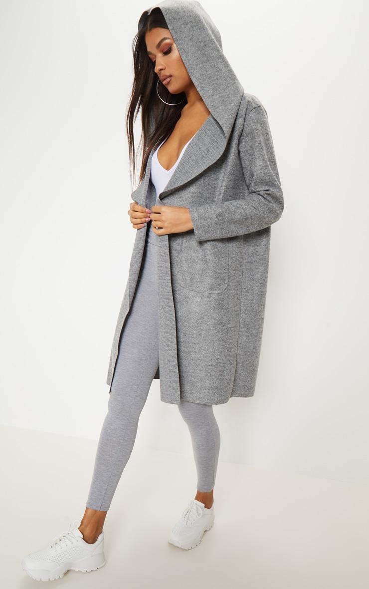 Grey Hooded Pocket Oversized Blazer  5