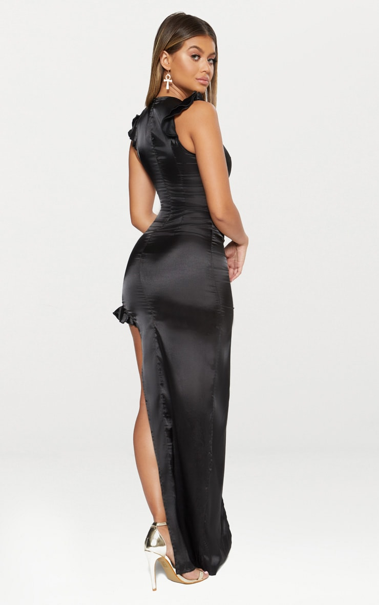 Black Satin Frill Shoulder Extreme Split Maxi Dress 2
