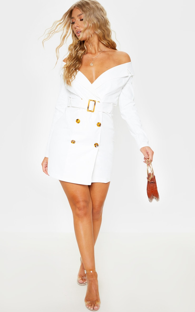 White Bardot Tortoise Button Belted Blazer Dress 3