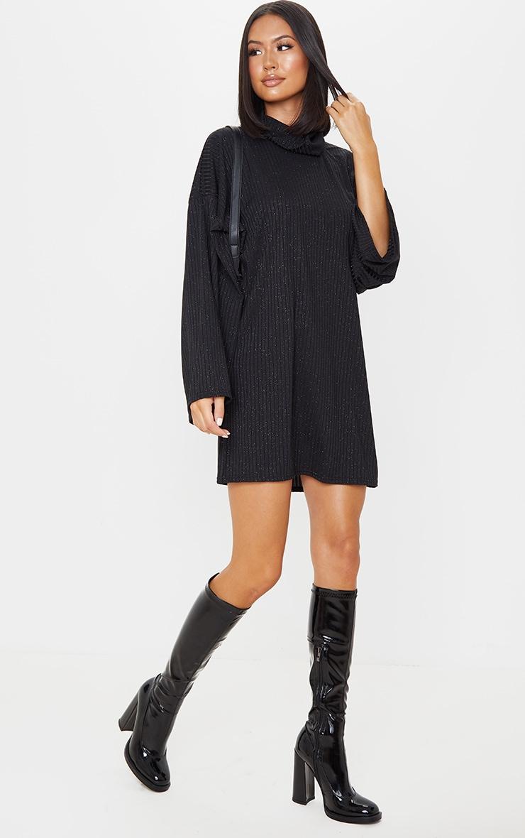 Black Glitter Rib Roll Neck Flare Sleeve Jumper Dress 3