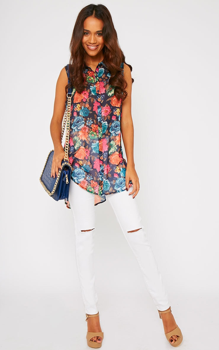 Olivia Navy Floral Print Sleeveless Shirt 3