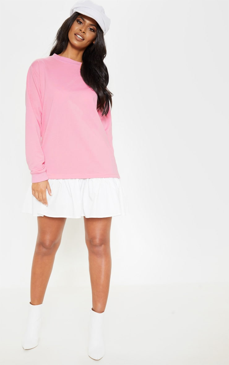 Dusty Pink Sweater Dress with Poplin Frill 4