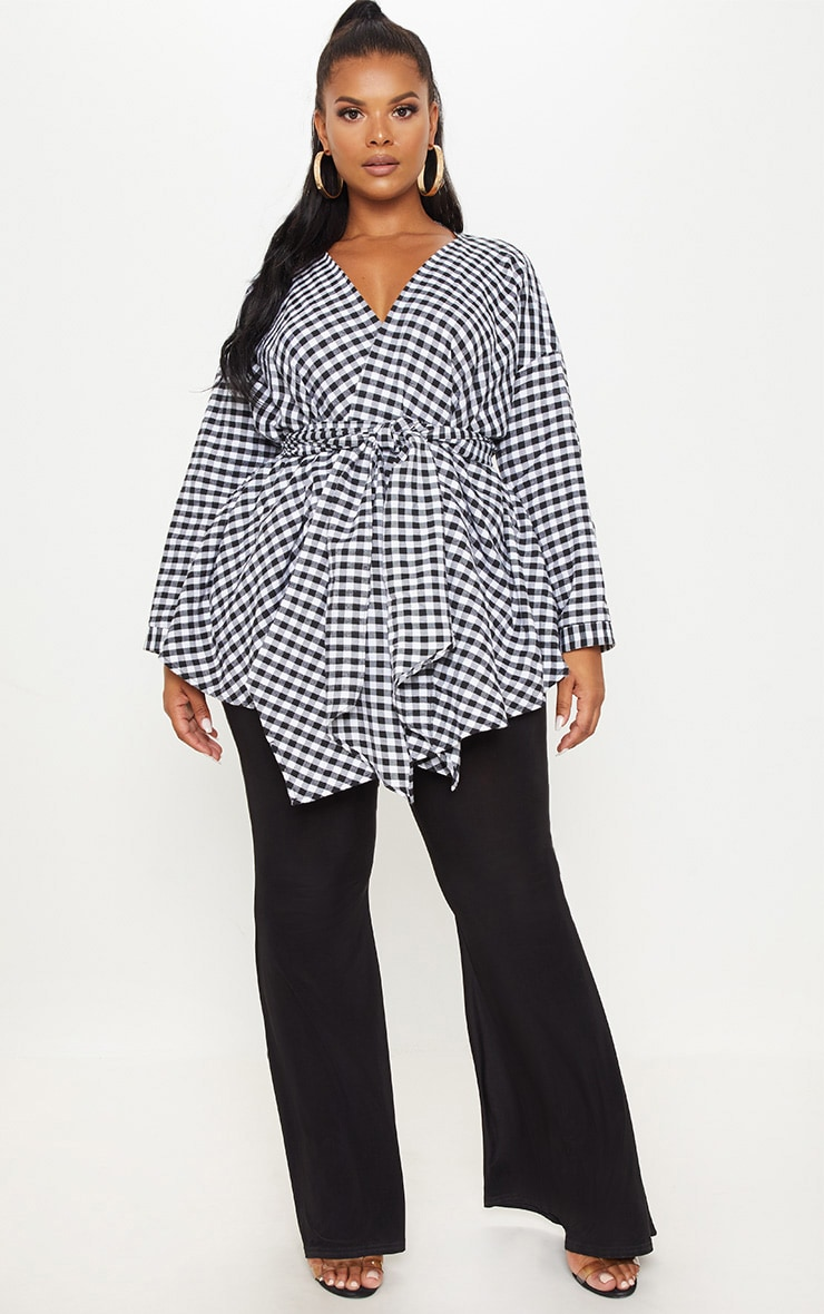 Plus Gingham Tie Waist Blouse 3
