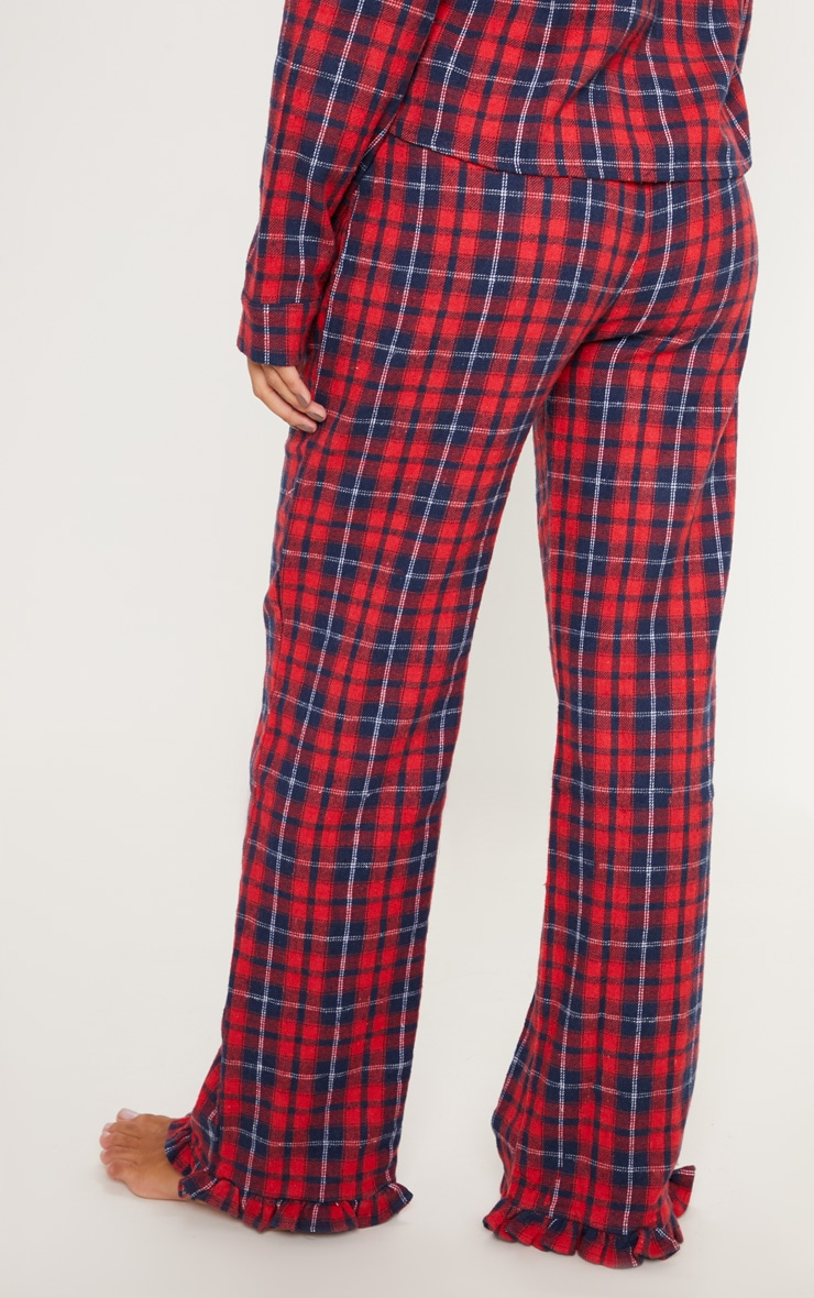 PRETTYLITTLETHING Red Check Frill Hem PJ Bottom 3