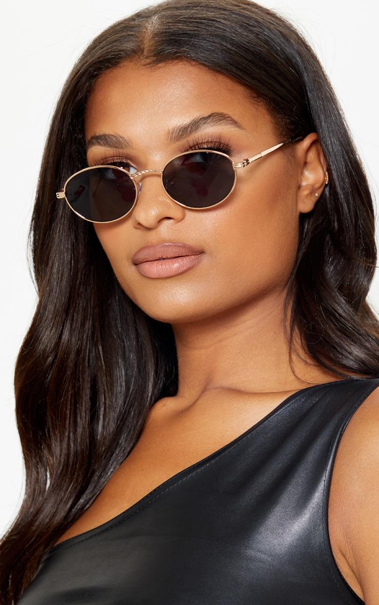 Black Oval Retro Style Sunglasses 1