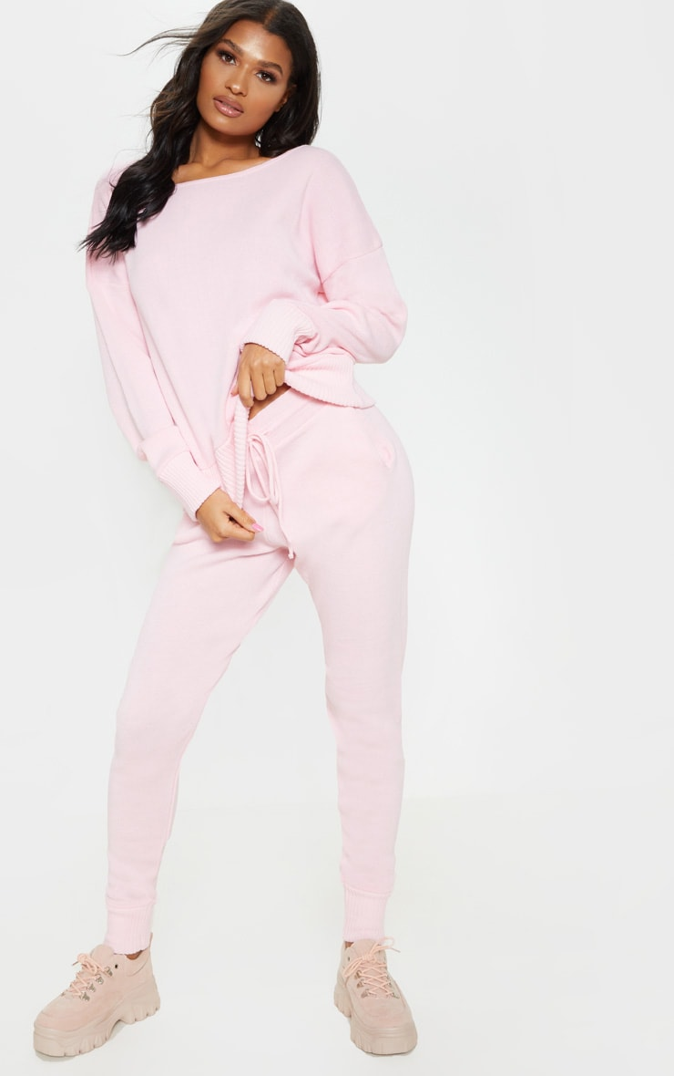 Pink Jogger Jumper Knitted Lounge Set 1