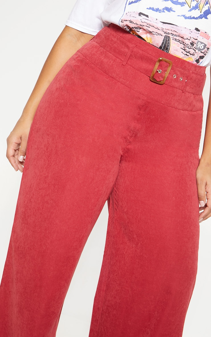 Plus Burgundy Faux Suede Belted Wide Leg Trouser 5