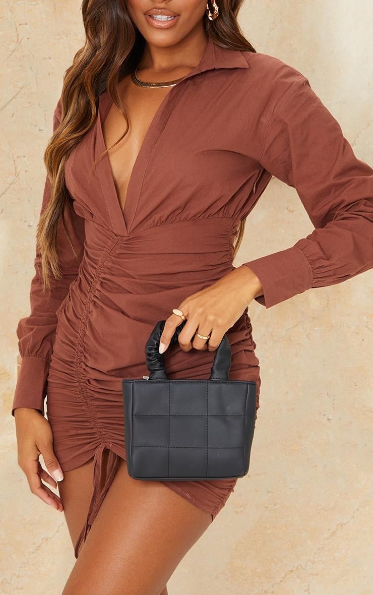 Black Mini Ruched Handle Square Detail Grab Bag 1
