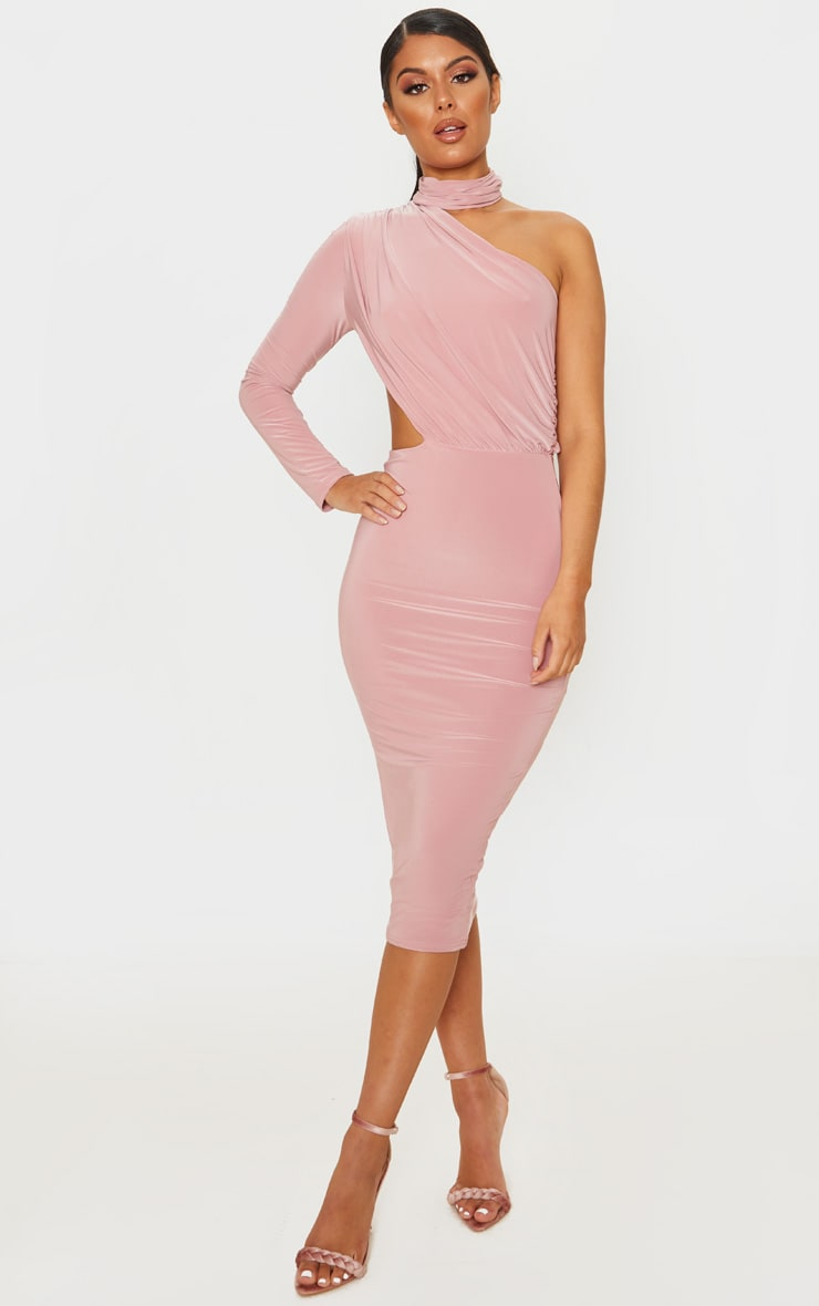 Baby Pink Ruched One Shoulder Midi Dress 1