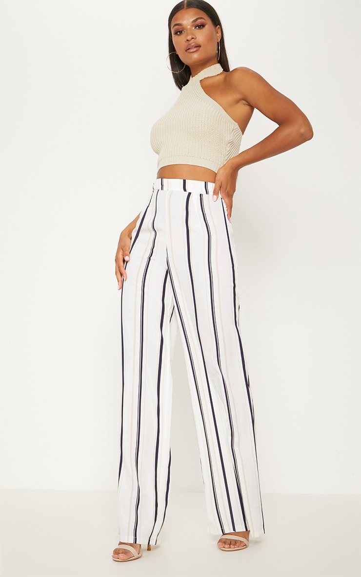 White Striped Wide Leg Trouser 1