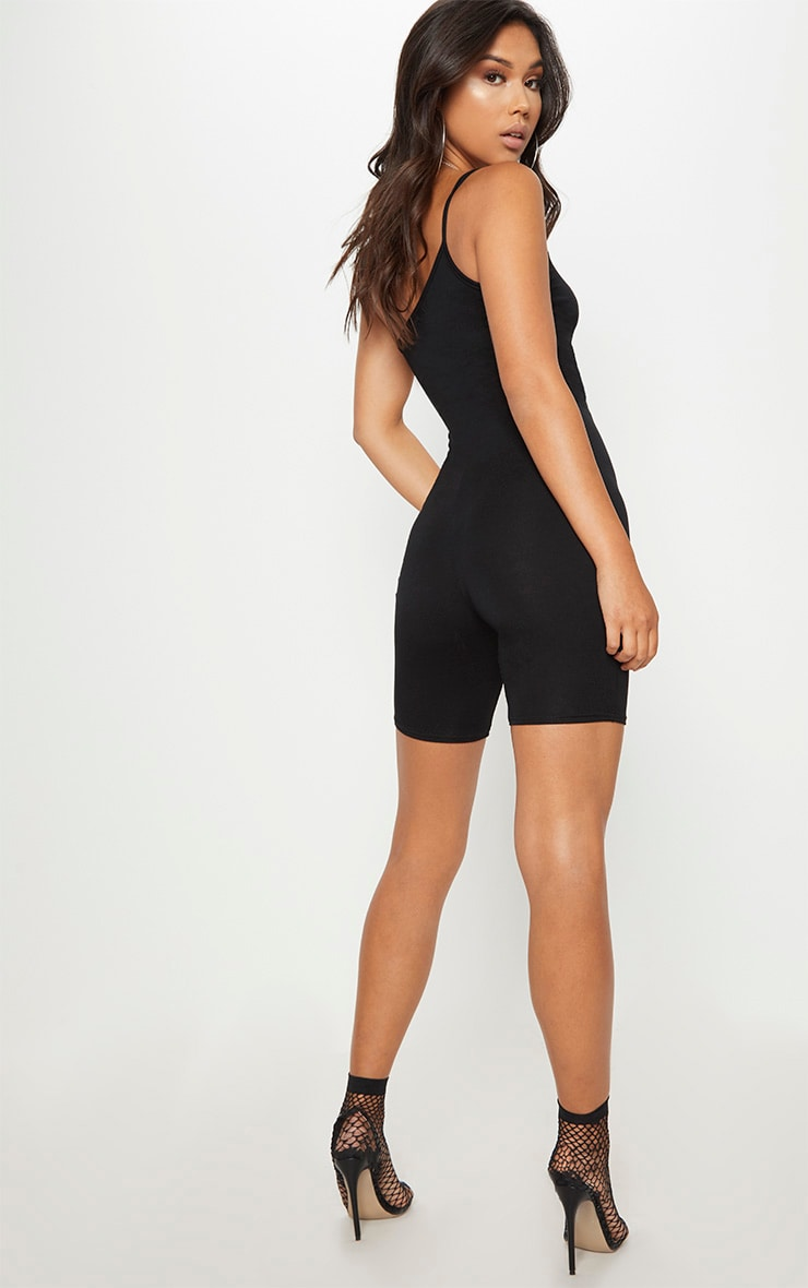 Black Jersey One Shoulder Strappy Unitard 2
